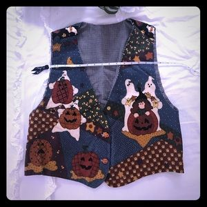Fun Halloween vest with pumpkins and witches